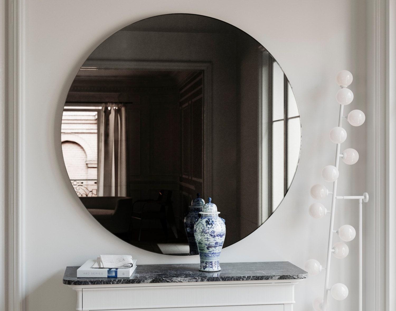 Round wall mirror black wall mirror round midcentury for Round black wall mirror