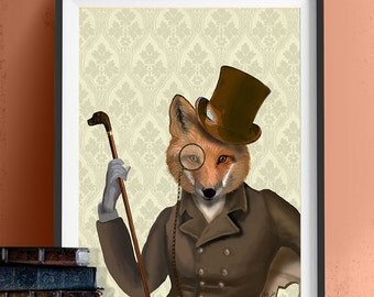 Fox Art - The Bounder fox print fox gift - woodland animal woodland art country home décor Country house Living room décor fox illustration