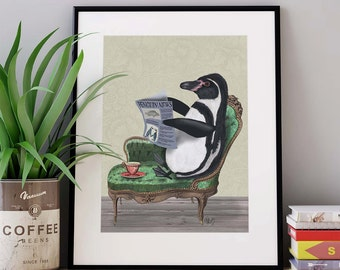 Penguin print - Penguin Newspaper - penguin nursery art penguin gift penguin décor penguin picture penguin illustration penguin poster