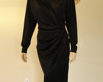 Ruched black dress with fringe at bottom STRETCHY 80s 90s 1980s 1990s  medium