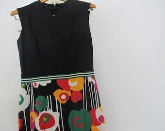 Mod Dress 1970 Dress Long Dress Size 12 Psychedelic Dress Flower Power Dress