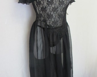 Goth Black Nightgown Set 1970's Nightgown Panties Black Negligee Mad Men Nightgown Set Sexy Black Lace New Medium