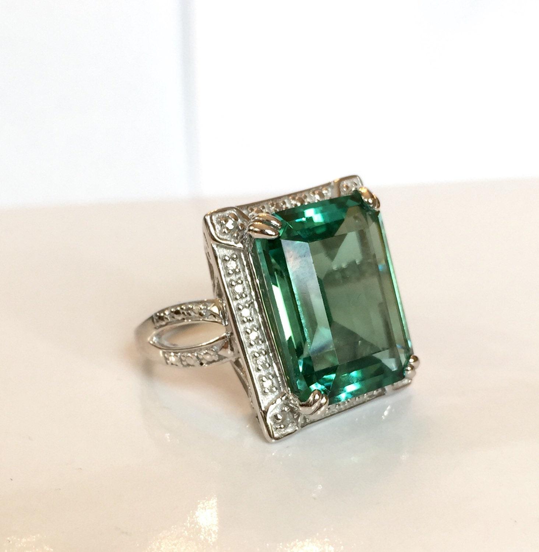 vintage green amethyst ring 11 ct genuine emerald cut