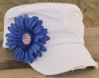 4th of July American Flag Hat cadet style or trucker cap style