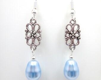 Light blue swarovski elements pearl pear drop earrings, wedding jewelry, bridal jewellery, bridesmaid, teardrop, ER021