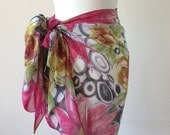 Beach Sarong Scarf Pareo, Swimwear Wrap Floral Pareo, Beach Cover Up, Summer Scarf, Colorful Large Flowers Sarong, Women's Fashion Scarf
