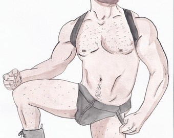 Original Watercolor paint-Painting by iomworks-Title d: Manu-watercolor & acrylic gay men drawing