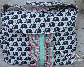 Custom Diaper Bag, Large Diaper Bag, Messenger Bag, Choose your own fabric