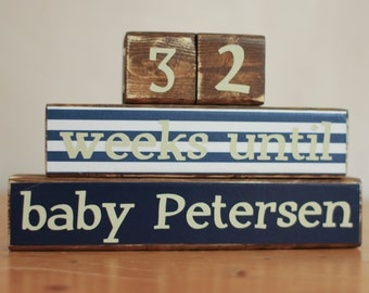 Pregnancy Announcement Baby- Pregnancy Countdown Blocks- Wood Countdown Blocks- Announce Pregnancy- Maternity Countdown- Countdown to Baby