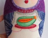 Leonor - mixed media matryoska handmade doll with tropical fruit, russian doll with papaya