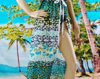 SALE!!!  Maxi Swim Suit Coverup, Chiffon Beach Coverup, Semi-Sheer Swim Coverup, Turquoise Swim Coverup, Long Beach Coverup