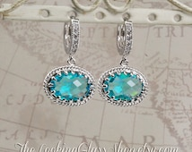 Kate Middleton Inspired Teal Crystal Earrings. RepliKate. CopyKate. British Royal Family. Princess Kate Jewelry. Duchess of Cambridge.
