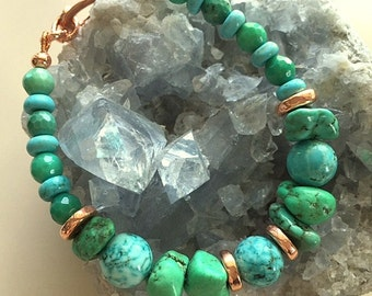 Chunky Turquoise, Chrysoprase and Copper Unisex Bracelet