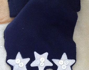 Appliqued scarf  pure Navy cashmere scarf