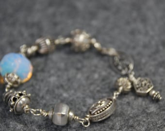 SALE  Sterling Silver Bracelet with Large Opalescent Bead
