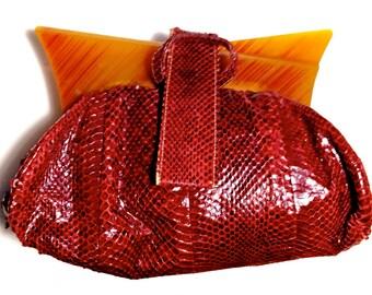 Vintage Red Snakeskin Handbag, Bakelite Frame