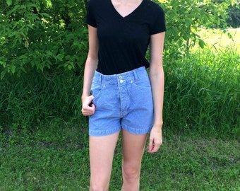 Pin Stripe High Waisted Shorts-SMALL