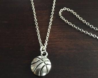 basketball necklace, basketball, silver basketball necklace, basketball pendant, basketball jewelry, silver necklace, necklace, jewellery