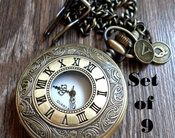 Wedding Pocket Watch Set of 9 Personalized Antique Bronze Pocket Watches  with Chains Clearance Groomsmen Groom Best Man Ships to US/Canada