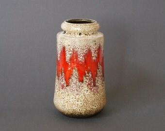 WEST GERMAN POTTERY Vase, Scheurich 549-21, Lora Vase, Scheurich Lora Vase, Red Scheurich Vase, Red German Vase, Red Zig Zag German Vase