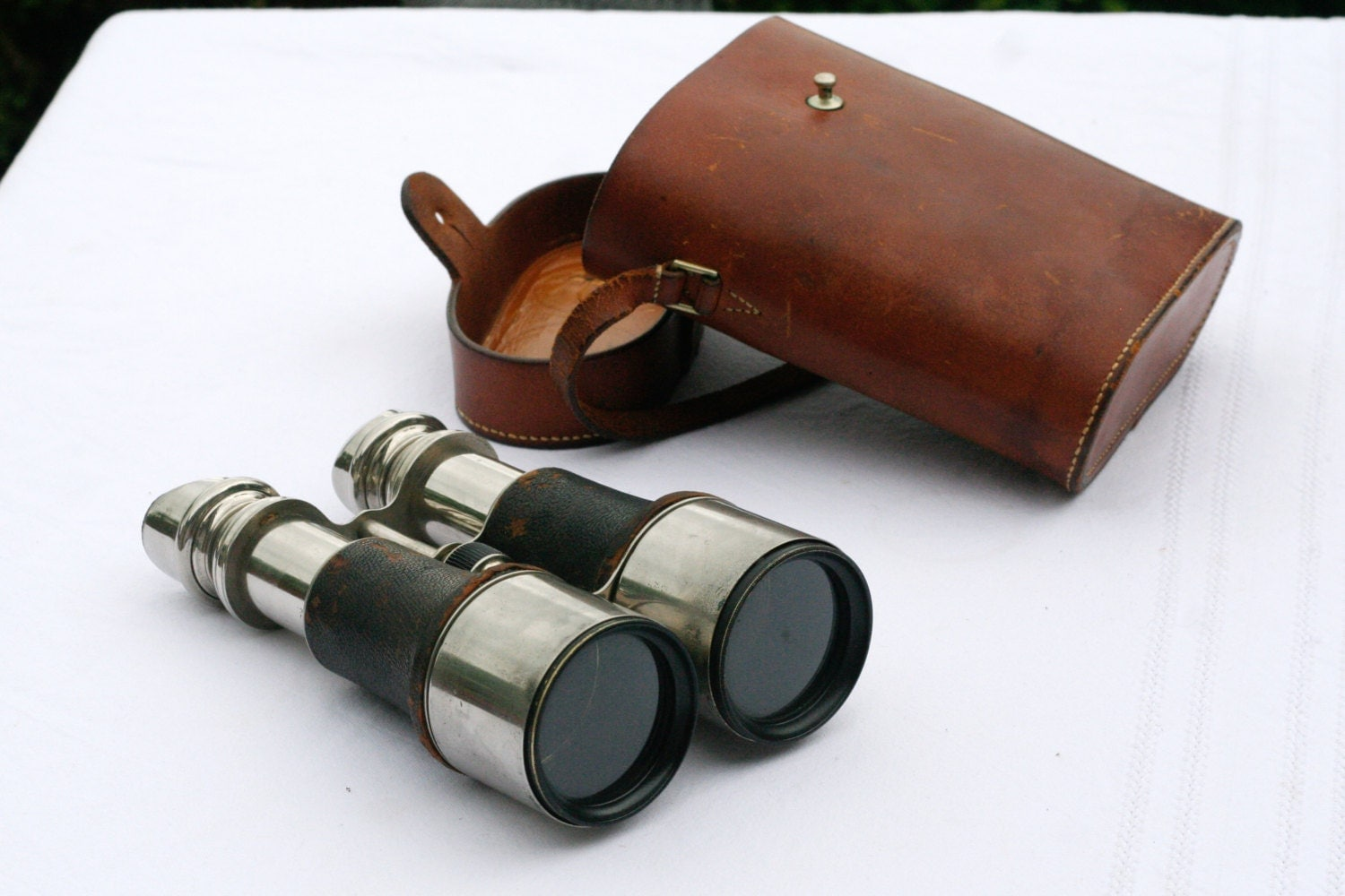 rare french vintage military binoculars with leather case