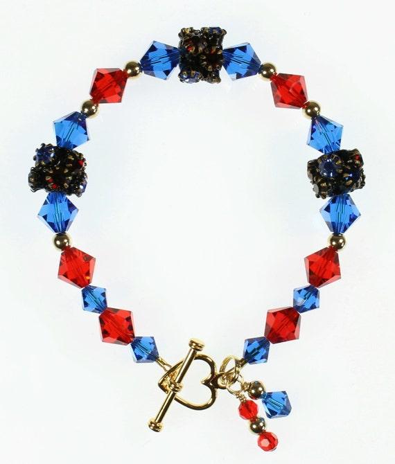 Red and Blue Swarovski Crystal Bracelet