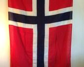 Vintage Norway Flag / Large 4 x 6 / Nautical Norwegian Flag Ship Salvage / Beautiful Colors / Scandinavian Norwegian Coastal Interior Decor