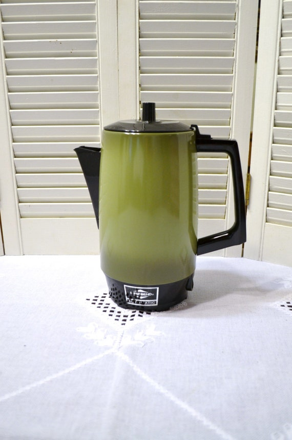 West Bend Coffee Maker Percolator : Vintage West Bend 9 Cup Coffee Maker Percolator Avocado Green