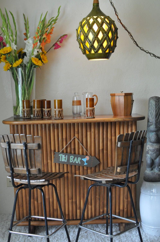 Large Faux Bamboo Green Ceramic Lattice Swag LampTiki Bar