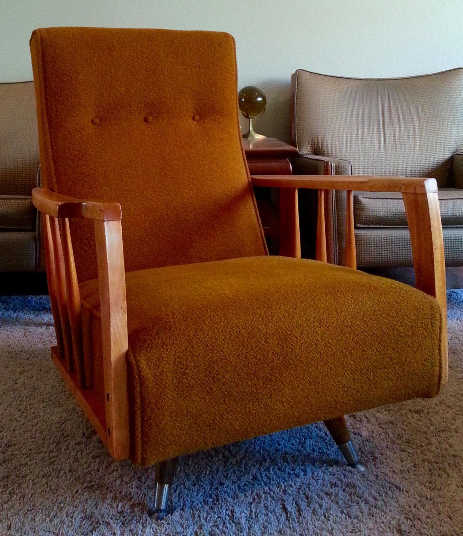 mid century modern high back swivel rocker chair no shipping. Black Bedroom Furniture Sets. Home Design Ideas