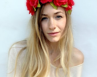 Flower Crown Headband, Coachella, Music festival, Rave accessory - Red Roses