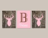 Country Baby Girl Nursery Decor, Girl Wall Art, Girl Bedroom Decor, Deer Antler, Deer Head, Rustic Nursery Initial Set of 3 Prints Or Canvas