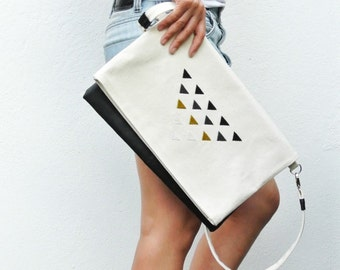 Oversized Foldover Clutch Leather/Canvas with hand embroidery detail