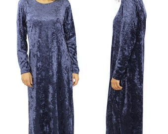 Velvet Maxi Dress - Vintage Long Sleeve Floor Length Dress - Dark Purple