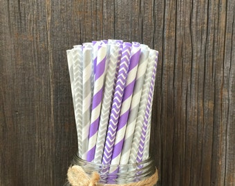 100 Lilac and Silver Chevron. Lilac and Silver Stripe Straws, Wedding Shower, Baby Shower, Birthday Supply