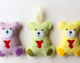 Teddy Bear Feltie PDF Sewing Pattern and Tutorial, Instant Download, Easy Step-by-Step Instructions
