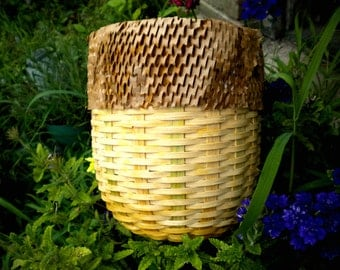 Basket, Reed Basket, Reed Basket with Crinkled Paper accent.