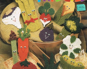 Plastic Canvas - The Needlecraft Shop 913909 - Veggie Fridgies Plastic Canvas Patterns - Vegetable Fridge Magnets