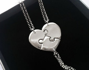 3 Piece Heart Puzzle Necklace, Puzzle Heart Necklaces For 3, Bridesmaid Puzzle Heart Necklaces