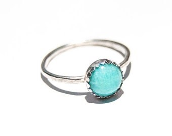 Handmade sterling silver Amazonite ring, 8mm gemstone ring, hammered ring, stacking ring, serrated bezel