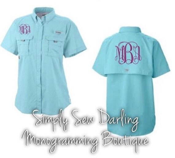 Monogrammed columbia pfg fishing shirt aqua by for Custom embroidered columbia fishing shirts
