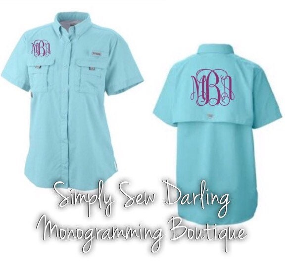 Monogrammed columbia pfg fishing shirt aqua by for Embroidered columbia fishing shirts