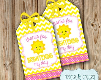 You Are My Sunshine Party Favor Tags  / Sunshine Birthday Party Gift Tags / Sunshine Baby Shower - FILE to PRINT