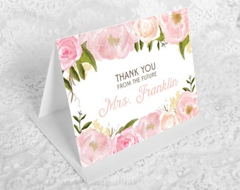 Bridal Shower Thank You Cards - Pink Floral Folded Thank You Cards - Custom Thank You Cards - Wedding Shower - Future Mrs.