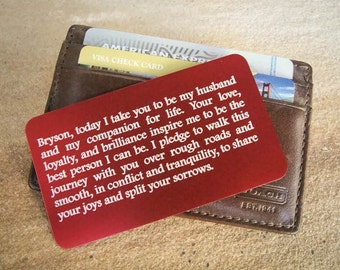 Custom Wallet Insert, Personalized Wallet Card, Metal Wallet Card, Engraved Wallet Insert: Something Blue, Father's Day, Gift for Him