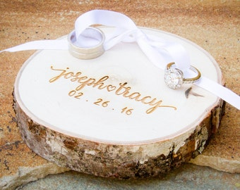 Personalized Ring Pillow Alternative, Rustic Wedding Ring Holder, Shabby Chic Ring Bearer Pillow, Engraved Ring Holder, Ring Box Alternative