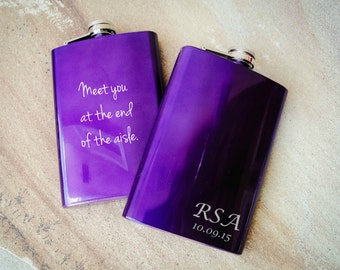 Monogrammed Flask, Personalized Flask, Engraved Flask: Bridesmaid Gift, Lady's Flask, Groom's Gift for Him, Purple Wedding Favor