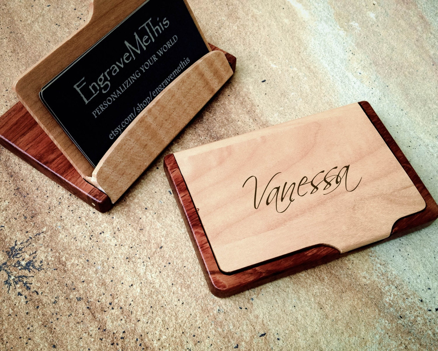 Business Card Case Personalized Wood Case Custom Engraved