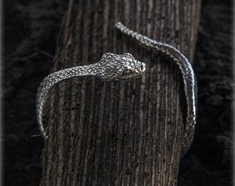 Sterling Silver Snake Bracelet, Snake Jewelry, Adjustable Bracelet, Gold Snake Bracelet, Nature Inspired Jewelry