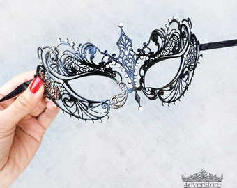 Masquerade Mask, Masquerade Ball Mask, Black Dress, Stunning Venetian Mask Masquerade with Diamonds, Little Black Dress [Black Mask]